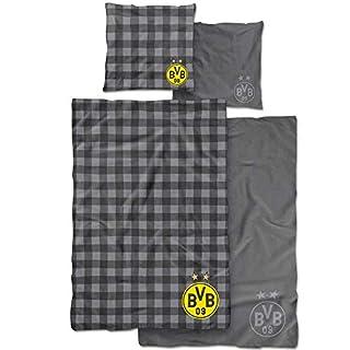 Borussia Dortmund BVB Wendebettwäsche, Baumwolle, Grau/Gelb, 135 x 200 x 2 cm