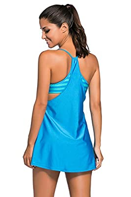 VALENCIA SLEEPWEAR Blue Solid Ruched 2PCS Tankini Skirted Swimsuit