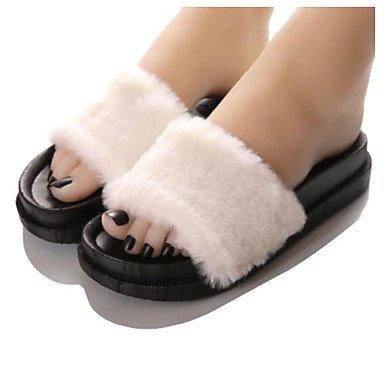 zhENfu donna pantofole & amp; flip-flops Estate Slingback Casual in gomma tacco piatto White