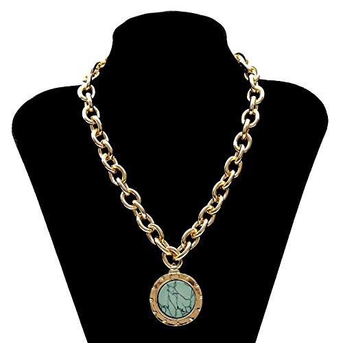 SUNMM Collar De Piedra Verde Collar Llamativo Color Dorado Heavy Metal Collar De Cadena Larga para Las Mujeres Regalos De Joyería, Dorado