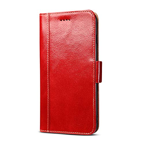 iPhone 6 Magnetic Closure Genuine Leather Case, Handmade Premium Cowhide Oil Wax Cow Leather Credit Card Slots Money Cash Pocket [Wireless Charging Compatible] Kickstand Case Flip Folio Cover (Red)
