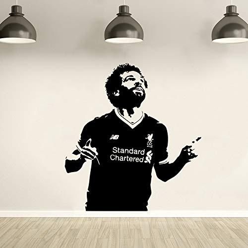 zqyjhkou Wandtattoo Mohamed Salah Fußballer Vinyl Aufkleber Wandbild Liverpool Fußball Tapete Wohnkultur Schlafzimmer Kunst Poster Ay1772 57x62 cm -