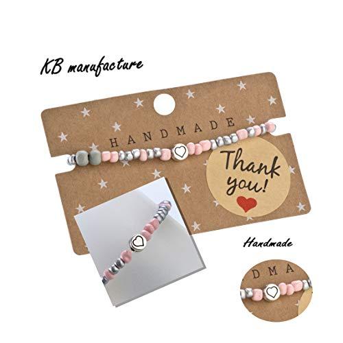 KB manufacture Summerpearl Fußbändchen Glasperlen rosa-Silber mit Herz -