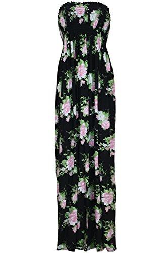 Oops Outlet - Damen Frauen Blumen Aufdruck Summer Sonnig Gesammeltes Bandeau Bustier Maxi Kleid Übergröße Schwarz, Cremfefarben, Rosa