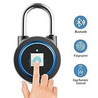 Fingerprint Padlock, Smart Bluetooth Lock, APP Unlock/15 Groups Fingerprints, Keyless Lock for Gym, Sports, School & Employee Locker, Outdoor, Fence and Storage, Support USB Charging