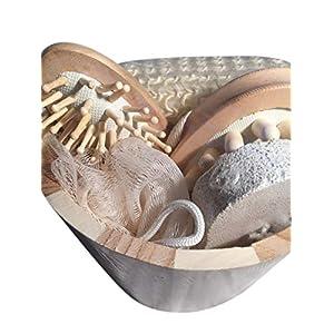 Geschenkset Badezimmer, Sauna,6 teilig, blau/braun Set Holz rund 17x12cm Luffaschwamm, Bürste, Schwamm, Stein Saunaset Badeset