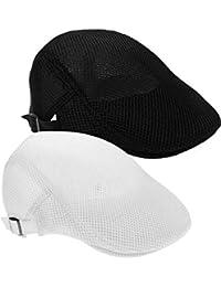 Lvcky 2 Pack Uomini Mesh Traspirante Cappello Coppola Strillone Cappello da  Caccia 67932440fb55