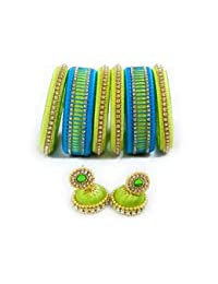 Pista Green And Blue Designer Jewellery Set With Bangles And Earrings