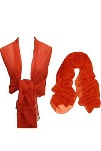 Sunvary neu billig Chiffon Stola Schal zu Abendkleid,Masse ca 45x190,in verschiednen Farben Koralle