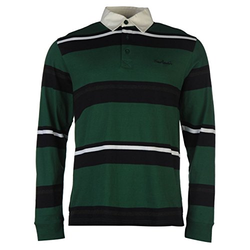 Pierre Cardin Uomo Rugby Polo Maglietta Bottoni Manica Lunga con Colletto Top Verde scuro/Navy Large