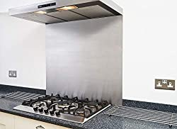 Fire Door Guru® Satin Stainless Steel Splashback for Kitchen/Cooker Hood - 600 x 750mm - 1.2mm Thick - Easy to Install