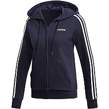 adidas Women's W E 3S FZ HD Sweatshirt, Legend Ink/White, 2XL