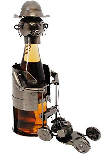 flaschenhalter-flaschenstander-gartner-mit-rasenmaher-aus-metall-47-cm-ideal-fur-wein-sekt-bier-uvm-