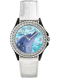 Delfin Reloj del cuero para mujer con piedrecillas