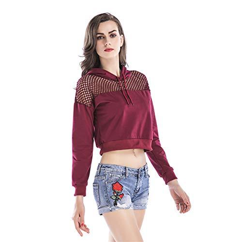 Damen Pullover Kapuzen-Sweatshirt Langärmeligen Gaze Sweatshirt Nabel Rot,Red,L -