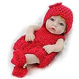 LLX Nicery Reborn Baby Doll Mini Soft Simulation Volles Silikon Vinyl 10 Zoll 26cm Lebensechte Junge Mädchen Spielzeug Geburtstagsgeschenk,Red-A