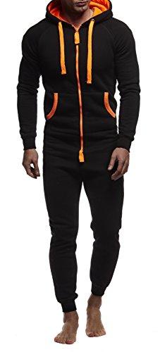 Leif Nelson Herren Overall Jumpsuit Onesie Trainingsanzug Jogginghose Trainings T-Shirt Fitness Stringer Bekleidung LN8154; Größe L; Schwarz-Orange