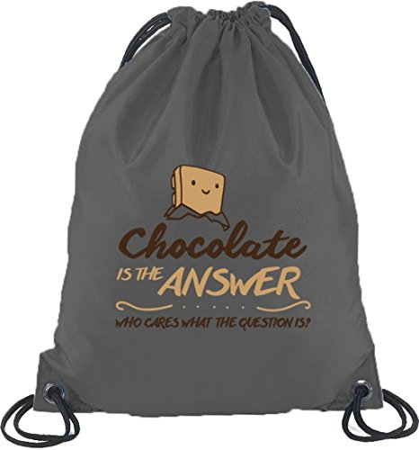 Shirtstreet24, Chocolate Is The Answer, Turnbeutel Rucksack Sport Beutel Dunkelgrau