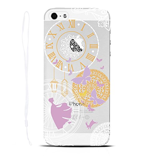 Yokata Cover per iPhone 5S, iPhone SE, iPhone 5 Custodia per iPhone SE / 5S / 5 gel Silicone Case Durevole PC Backcover Protettiva Caso Premium Ultra Sottile Acrilico Protezione Shell + Cordino - Desi Orologio
