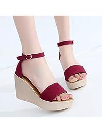 YMFIE Ms. Simple Fashion Accogliente sandali con impunture Summer Outdoor Casual antiscivolo Open Toe Tacchi alti...