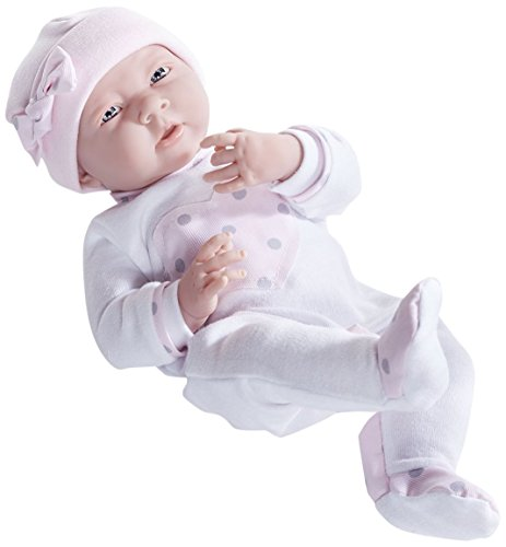 """Roll over image to zoom in JC Toys La Newborn in Pink Heart Pajamas. Realistic 15 (38 cm)"""" Anatomically Correct """"Real Girl"""" Baby Doll - All Vinyl Designed by Berenguer Boutique - Made in Spain"""