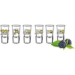 6Copas De Chupito Tequila con frases vasos chupito Shots Stamper vasos Vodka