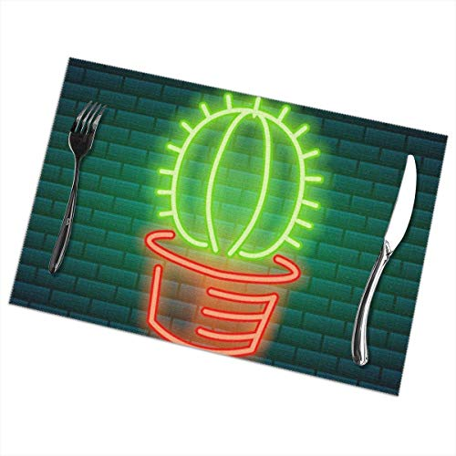 Aeykis Neon Signs and Icons Green Cactus and Tropical Placemats Set of 6 for Dining Table Washable Polyester Placemat Non-Slip Heat Resistant Kitchen Table Mats Easy to Clean 1218inch -