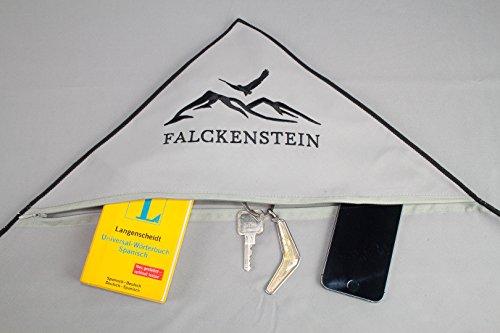 Premium Mikrofaser Reise-Handtuch (80x160) incl. Karabiner & Tasche + GRATIS Fixate Gel Pads • mit unsichtbarer Reisverschluss-Eck-Tasche von FALCKENSTEIN • ideal für Fitness-Studio, Sauna-Tuch, Microfaser Badetuch, Strand-Handtuch, See, Trekking, Outdoor & Reisen • (Grau, 80x160 cm) - 3