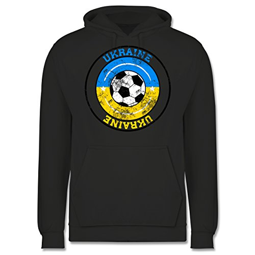EM 2016 - Frankreich - Ukraine Kreis & Fußball Vintage - Männer Premium Kapuzenpullover / Hoodie Dunkelgrau