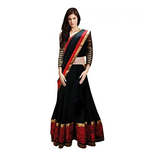 Purva Art Women\'s Latest Black & Red Circular Lehenga Choli With Dupatta Set