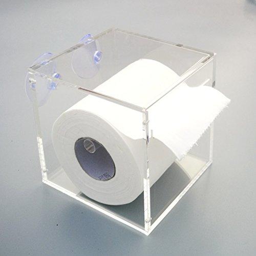 Kunststoff saugnapf rollenhalter,Wand halterung frei stehende einfache wasserdichte küche wc bad gewebe box toilettenpapierhalter-D 12.6x12.6x12cm(5x5x5inch) (Frei Stehende Box)