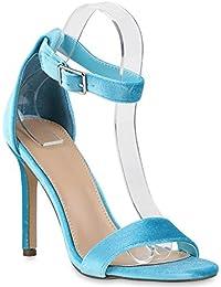 Damen Strass Sandaletten | Stiletto High Heels | Party Schuhe Metallic | Glitzer Brautschuhe Hochzeit | Nieten Schnallen | Velours Animal Prints | Flandell®