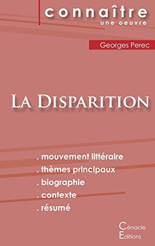 Fiche de lecture La Disparition de Georges Perec (Analyse littraire de rfrence et rsum complet)
