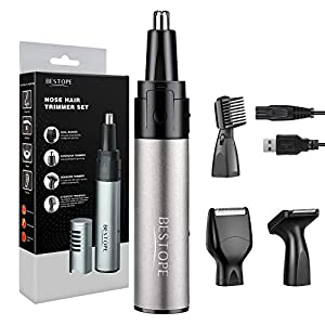 BESTOPE 4 in 1 Nose Hair Trimmer Electric Nose Trimmer Low Noise Rechargeable Facial Hair Trimmer Ear Eyebrow & Beard Trimmer for Men and Women with Alloy Body