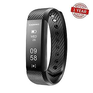 Mevofit Echo Dash HR Fitness Band & Smart Watch - Fitness Tracker Bands with Heart Rate for Men & Women | Echoronics by MEVO (Black)