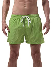 Okany Mens Beach Shorts Quick Dry Swim Trunks for Men with Pockets Surfing Swimming Watershort, Olive Green, L-tag Asia XXL-waist 32-38 inch