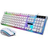 STRIR LED Retroiluminación USB con Cable Pack de Teclado y Ratón Gaming (Blanco)