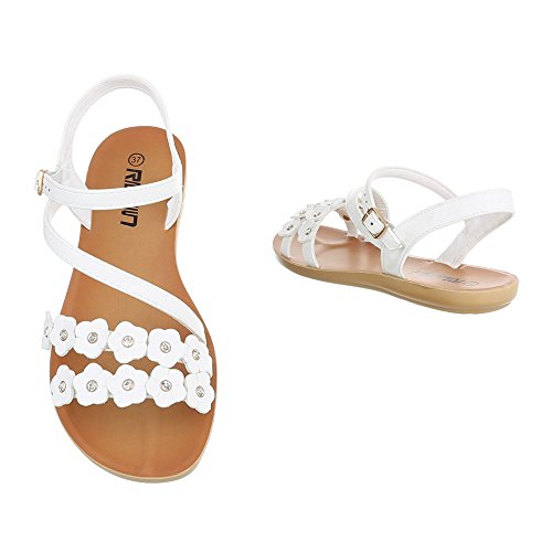 Riemchensandalen Damenschuhe Knöchelriemchen Strass Besetzte Schnalle Ital-Design Sandalen / Sandaletten Weiß