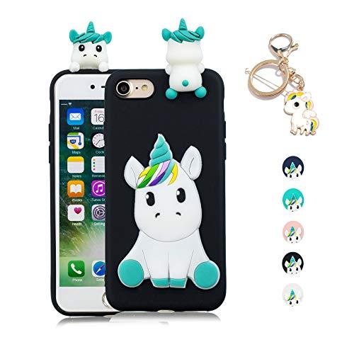 Kawaii-Shop Funda iPhone 7 8 Silicona Cover, Negro Unicornio 3D Squishy Kawaii Juguete Toy Animal Carcasa Inquebrantable Shell para Chicas+Llavero de Unicornio