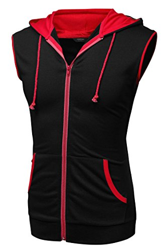 Coofandy Mens Casual Sleeveless Hoodie Zip Up Vest With Pockets