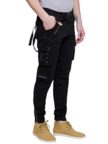 Verticals Men's Cotton Cargo Pants with Zipper Black_30