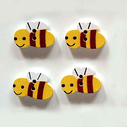 beIilan 50pcs / Pack-nette Karikatur-Biene Umweltschutz Buttons