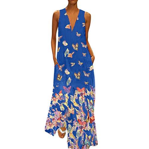Maxikleid Damen Sommerkleider Lang Elegant Schick Große Größen Ärmellose V-Ausschnitt Kleider Schmetterling Muster Casual Cool Leichte Kleider mit Tasche S-XXXXXL - Vogue Herren Muster