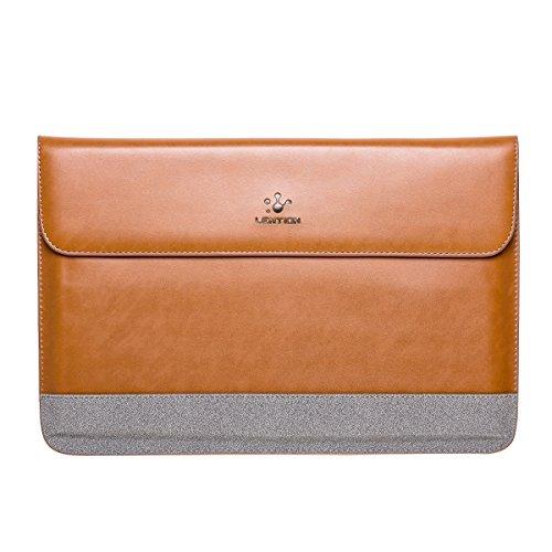 Lention Split Ledertasche für MacBook Air 11 / MacBook 12 / Surface Pro/Samsung/HP/Asus/Acer, Premium Tragetasche mit magnetischen Snaps für 11-12 Zoll Laptops und Tablets (Braun mit Grau)