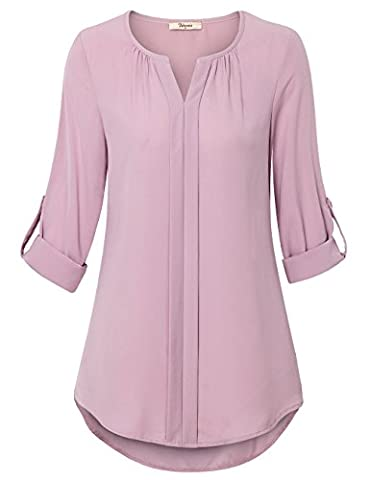 Blouse Shirts for Women,Bebonnie Fashion Cuffed Sleeve Notch Neck Pleats Loose Comfy Tops Dark Pink,Large