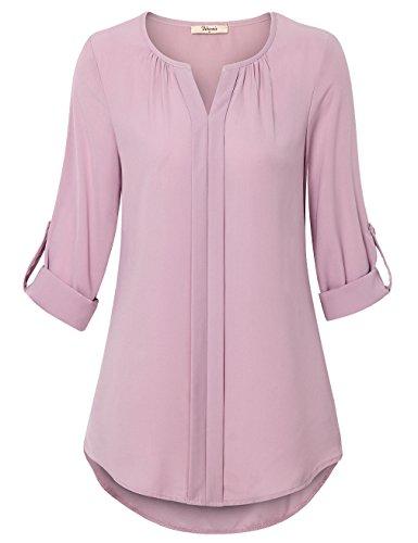 Damen Bluse,Bebonnie Chiffon Langarm Tuniken V-Ausschnitt Durchgefärbt Gewellter Saum Casual Shirt Tops Dunkles Pink, XXL (Top Rosa Tunika)