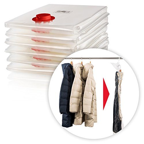 Blumtal set 6 sacchetti salvaspazio sottovuoto da appendere | buste con gancio esterno e interno per gruccia | per giacche, cappotti | no pieghe | riutilizzabili e trasparenti | 105x70 e 145x70 cm