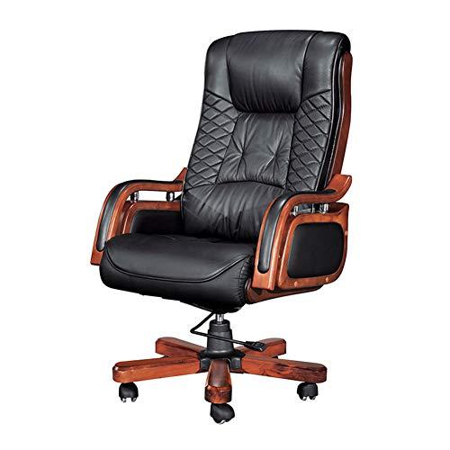aoeiuv Bürostuhl mit hoher Rückenlehne, gepolstert, ergonomisch, hohe Rückenlehne, Echtleder-Polsterung, Chefsessel mit Verstellbarer Höhe, Fußstütze und neigbarer Rückenlehne für Gamer