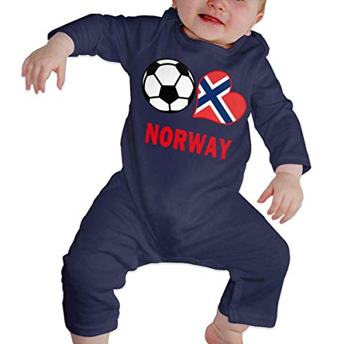 ZhuHanug Newborn Baby Boys Girls Romper Jumpsuit Soccer Heart Football Norway Flag Cotton Long Sleeve Romper Bodysuit