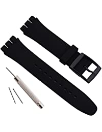 Replacement Waterproof Silicone Rubber Watch Strap Watch Band for Swatch (17mm 19mm 20mm) (19mm, Black)